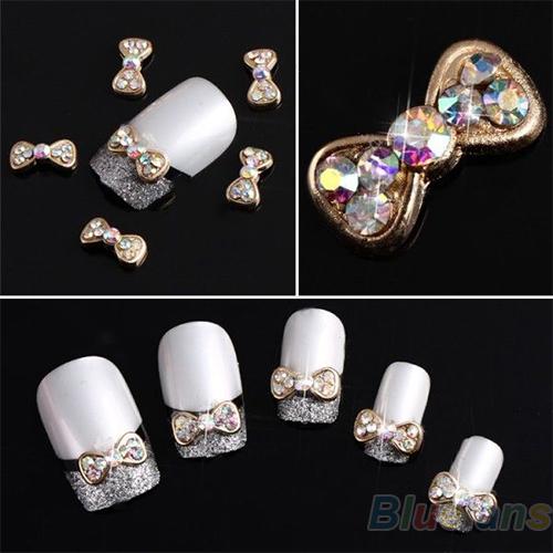 10pcs 3D Alloy Acrylic Bow Tie Colorful Nail Art Glitters DIY Decoration nail tools sticker 0313(China (Mainland))