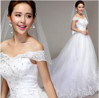Free shipping 2014 the princess bride V-Neck Off Shoulder Lace wedding dress, women's Senior Luxurious wedding dress XS-XXXL