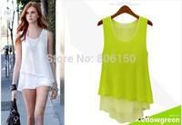 2014 new European American summer  loose sleeveless chiffon shirt women fake two Camisole wild long section