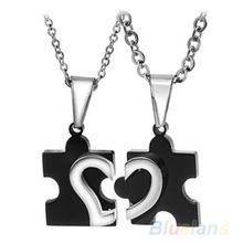1 Pair 2014 New Men's Women's Couple Lovers Stainless Steel Love Heart Puzzle Pendant Necklace