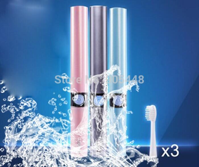 pacote de viagem cuidado profissional massagem elétrica sonic escova com três cabeças substituíveis limpeza dos dentes cuidado dental dente escova(China (Mainland))