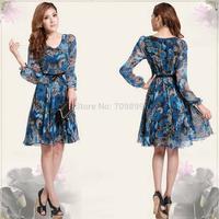 Free shipping summer dress 2014  Women's Floral Print V-Neck Long Sleeve Dress Spring  Summer Big size M-L-XL-XXL-XXXL  E2728-28
