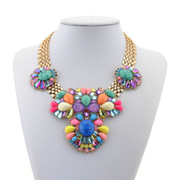 2014 new exo brand design color bead bubble pendant  necklace bohemian vintage chunky body collar chain statement bijoux jewelry