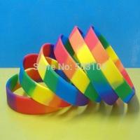 Rainbow segmented colors blank silicone wristband