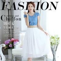 Denim patchwork 2014 gauze belt sweet female short-sleeve one-piece dress full dress