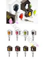 42pcs free ship multifunction whistle sparrow bird keychain bird house holder key hook key ring couple lover key chain