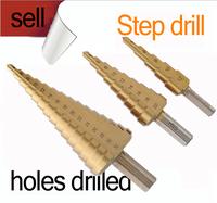 New 15 steps 3Pcs HSS Steel Large Cone Drill Bit Set Hole Cut 4-12/20/32mm step drill Hot Freeshipping