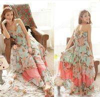 2014 NEW Summer Women Floral Print Chiffon Long Dresses V-Neck Beach Boho Maxi Sundress Spaghetti Straps Vest Vestidos