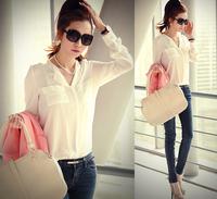 Free shipping New women's V-neck chiffon shirt loose, casual clothing long-sleeved shirt shirt  female sun-resistant shirt 4890