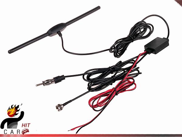 Digital TV DVBT ISDB FM Radio Antenna with DC Booster F Type for Car Head Unit(China (Mainland))