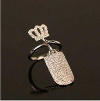100% Gurantee 925 Sterling Silver wedding crown with full CZ rhinestone punk fingernail ring-Wholesale Free Shipping 2014 R110