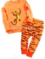 2014 Boys Pajama sets Cotton Pyjama suit Long Sleeves Tiger Cartoon Character Kids Clothes set Free Shipping