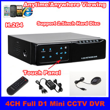 4 channel H.264 Touch Panel Full D1 Mini Standalone Network DVR Recorder Support Smartphone Viewing anytime and anywhere