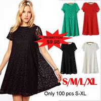 Vestido De Festa Real Dresses New 2014 Summer Women Lace Dress Plus Size S-xl Casual Party Evening Elegant Club Midi Vestidos