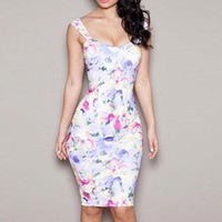 Women Dress Summer 2014 White Floral Print Straplesee Sexy Knee-Length Hot Sale Women Free Shipping