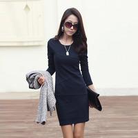 2014 spring women's long-sleeve anti-wrinkle ol basic   elegant plus size slim one-piece dress female