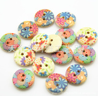 Free shipping!Cute colorful round wood flatback buttons,scrapbooking accessories 18mm garment accessories diy findings