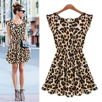 Sexy Women Leopard Animal Print Pleated Ruffle Sleeve Mini Dress Sundress Casual