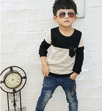 Korean Fashion Boys T Shirt Pure Cotton Pocket Best Quality Children Long Slee