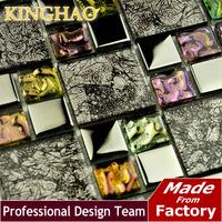 [KINGHAO] Wholesale Glass mosaic tile Stainless Steel Mosaic Tiles Bathroom Mosaic Tile Kitchen Backsplash KF4855