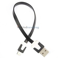 Flat Micro USB Sync Data Charger Cable for Cellphones Samsung Black V3NF