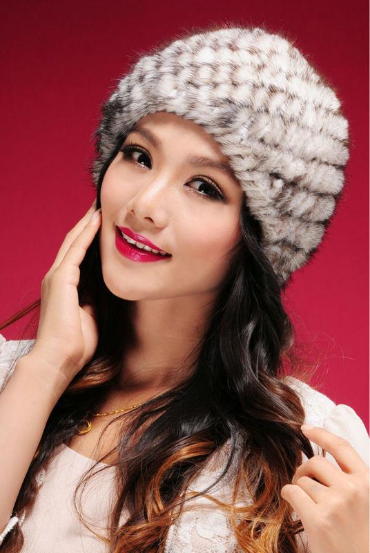 2014 New Genuine Mink Fur Hat Nature Knit Mink Fur Cap Fashion Women Headgear Free Shipping TPHM0003(China (Mainland))