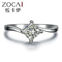 ZOCAI 2014 New Arrival natural princess cut 0.30 ct diamond 18K white gold diamond engagement women ring fine jewelry