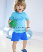 2014 Retail Boy Clothing Set Sky Blue T Shirt Blue Shorts Clothing Suit Boys Sports Style Children Wear Kids Clothes