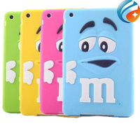 Kids Shockproof Cover Cute Rubber Rainbow Candy 3D Cartoon M&M Chocolate Bean Silicone  Case for ipad mini 2/1  free shipping