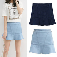 Spring Summer New 2014 Fashion Casual Mermaid Ruffled Skirts Denim Mini Skirt For Women Girl Plus Large Size 5314