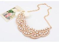 Hot Design Pearl Hallowed Golden Choker Bib Collar Necklace Pendant  Freeshipping&Wholesale Alipower