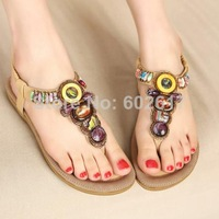New 2014 sandals for women flats flip-flops slippers girls sandals Diamond women's shoes