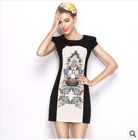 2014 European Grand  Factory Direct new retro print round neck short sleeve Slim thin large size women dress Casual A-Line