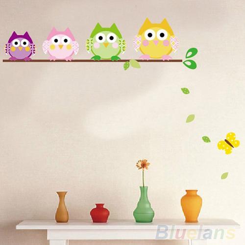 sevimli dört baykuş kelebek ağacı çıkarılabilir vinil çıkartma çocuk odası ev dekorasyon duvar çıkartmaları