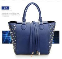 high quality European& America style pop women genuine leather handbags ,fashion cowhide rivets tote bags 0456 free shipping