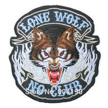 Одинокий волк не клуб свиней рокеры гонщик чоппер вне закона MC мото жилет патч вышитые пришить железа на байкер жилет знак(China (Mainland))