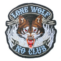LONE WOLF NO CLUB Hog Rockers Racer Chopper Outlaw MC Motorcycle Biker Vest Patch Embroidered SEW ON IRON ON Biker Vest Badge