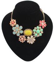 women wedding jewelry,statement metal,personalized prom summer modern handmade jewelry,Bohemian Colorful Flower Necklace