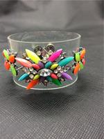 Crystal Rhinestone leather bracelets & bangles statement Jewelry Colorful bracelets For women 2014