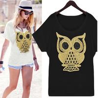 2014 New Fashion Summer Batwing Sleeve Loose Women's The owl figure Cotton  Short-sleeve T-shirt