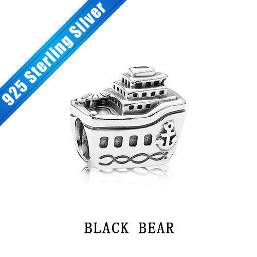 Free Shipping 925 Sterling Silver Boat Thread Vintage Ship Beads Charms Fit European Style 2014 Jewelry Bracelets Beads Charms(China (Mainland))