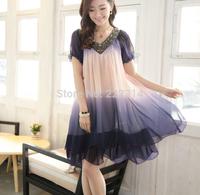 new summer dress ladies XL summer short-sleeved chiffon dress (belt free) multi colors M-4XL 5039