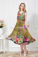 Free Shipping Drop shipping!Factory Wholesales Fashion Leopard grain belt Vest Long Chiffon Dress