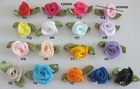 FZ023 Satin rosettes 100pcs 15mm ribbon flower colorful clothes accessories
