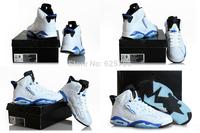 Free Shipping New Model Air Retro 6 VI White Sport Blue Powder Blue Men's Basketball Sport Footwear Sneaker Trainers Shoes