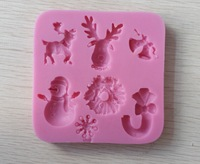 Free shipping 2013 New Arrival Christmas Series Cartoon Silicone fondant 3D cake tools mold , chocolate bakeware soap mold
