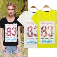 2014 New Fashion Summer smd 83 Paillette Cotton Short-sleeve plus size short-sleeve T-shirts