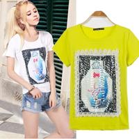 2014 New Fashion Summer Perfume Bottle Short-sleeve Women's Slim Cotton T-shirt