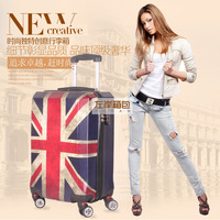 """24"""" inch UK flag Trolley suitcase luggage Man Women box rolling spinner wheels traveller case trolley Pull Rod trunk"""