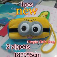 1PCS With 2 Zipper Kawaii Novelty Cartoon Minions Pouch makeup Organizer Cosmetic Bags & Cases make up organizador de maquiagem